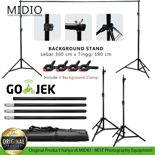 Foto Produk Portable Background Stand Midio 3M untuk Background Studio Foto dari Midio