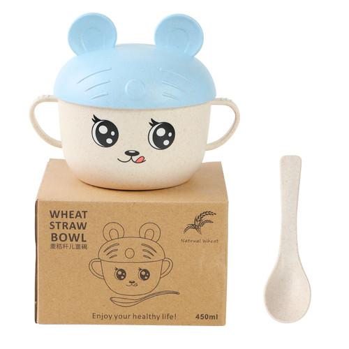 Foto Produk Freemir Wheat Straw Mangkuk Gambar Kartun Sendok / Bowl + Spoon - Biru Muda dari freemir Official Store