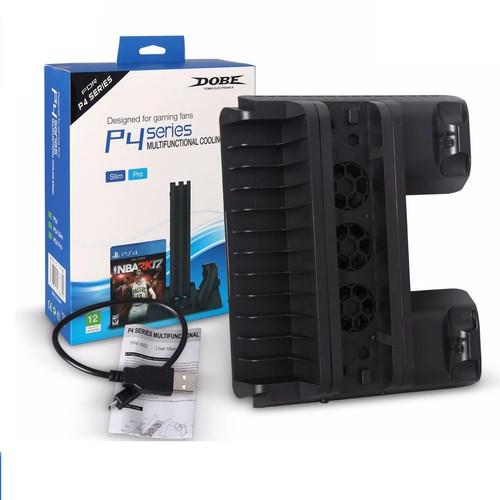 Foto Produk Vertical Stand /Cooling fan / Charger PS4 Slim / Pro Dobe - TP4882 dari Butikgames