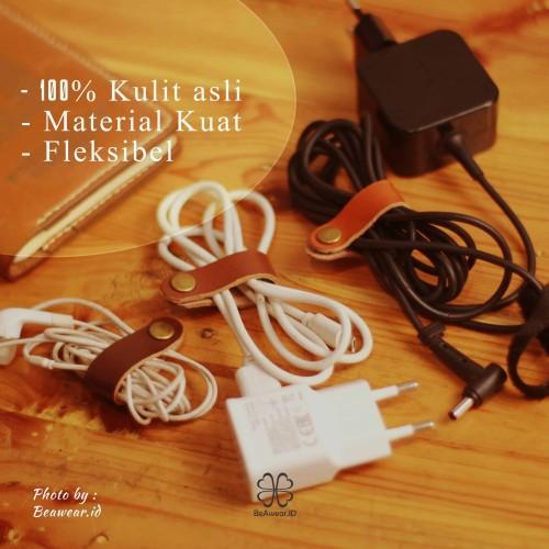 Foto Produk klip kabel kulit asli | leather cable clips | leather cable organizer dari Beawear.id