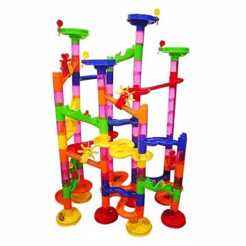 Foto Produk Tseloop-M58 Mainan Marble Run Block 105PCS Mainan Anak DIY Seluncuran dari Tseloop Mall