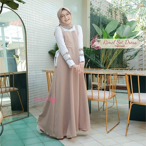 Jual Rimel Dress Gamis Remaja Terbaru Baju Muslim Wanita Modern 2020 Merah Muda All Size Kota Cimahi Demen King Tokopedia