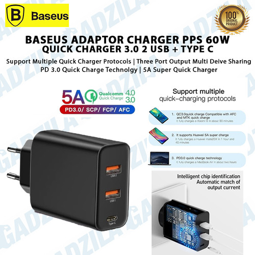 Foto Produk BASEUS Adaptor Charger PPS 60W 5A Quick Charging 3.0 2 USB + TYPE C dari GADZILA STORE