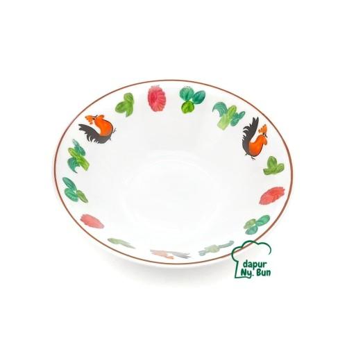 Foto Produk Mangkok Bubur Motif Ayam Jago Sayur Ukuran 8 Inch / Mangkuk Makan 20cm dari Dapur Ny.Bun