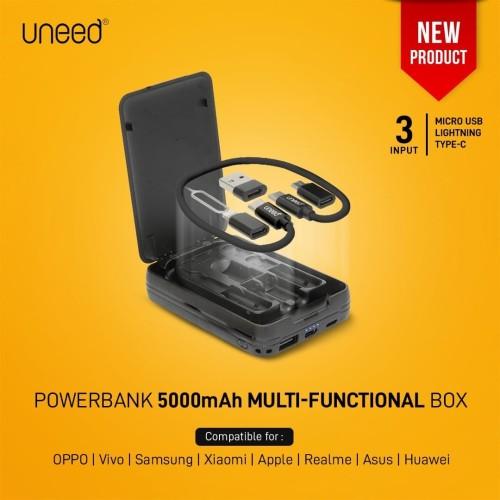 Foto Produk UNEED Powerbank 5.000mAH wth Cable Type C, Micro USB, Lightning UPB201 dari Uneed Indonesia
