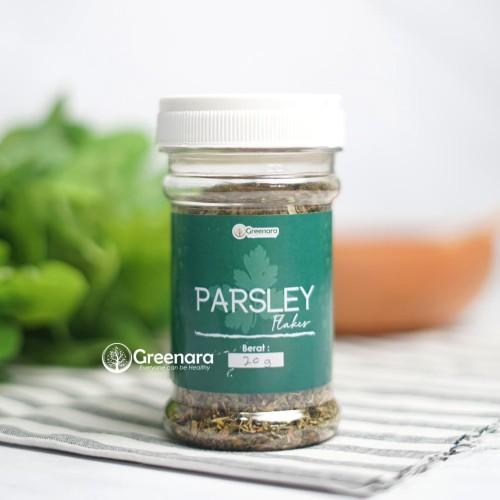 Foto Produk Parsley Flakes 20gr kemasan Botol / Daun Parsley Kering dari Greenara