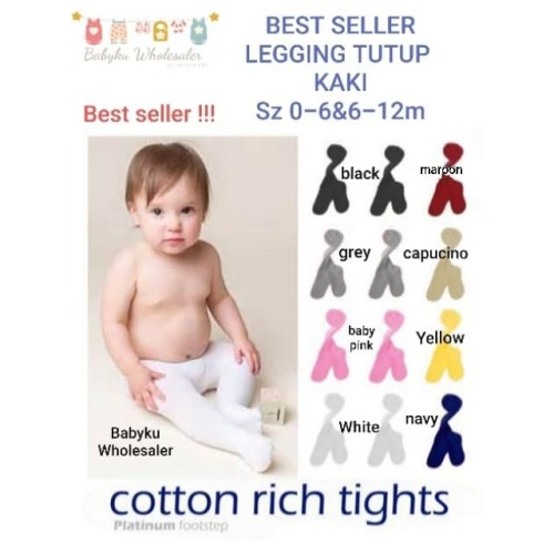Foto Produk leging bayi tutup kaki / leging bayi cotton rich - 0-6m, yellow dari BABYKU WHOLESALER