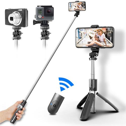 Foto Produk 3 in1 Selfie Stick Tongsis Bluetooth Shutter Tripod Holder L02 - Hitam dari yuhai_0055