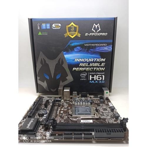 Foto Produk Motherboard EFFOXPRO H61 MLX USB 3.0 GARANSI 3 TAHUN TUKAR BARU dari QUEENPROCESSOR
