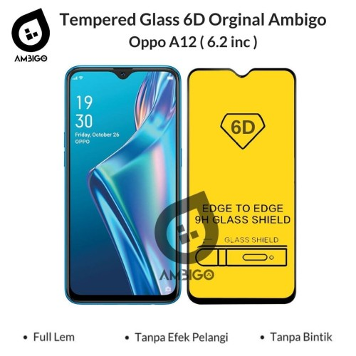Foto Produk Tempered Glass 6D 9D Oppo A12 Full Glue Full Cover Color Ambigo - Hitam dari Jagonya Case
