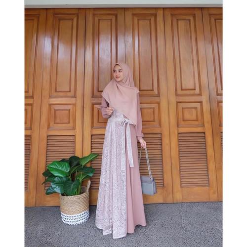 Foto Produk ZAVINA DREES moscrepe mix brukat size S M L XL fashion muslim terbaru - Merah Muda, S dari PUSATGAMISBANDUNG
