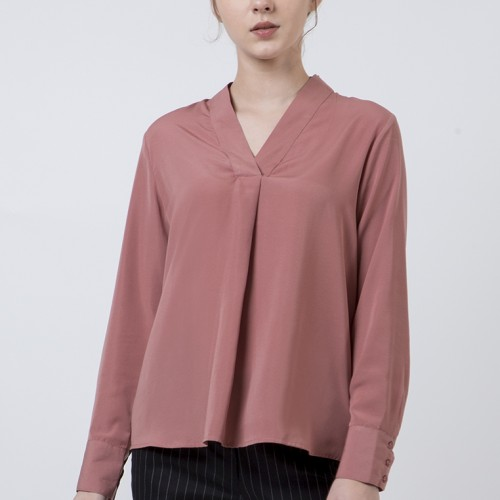 Foto Produk The Executive Basic Long Sleeves Blouse 5-BLWKEY120D003 Dusty Pink - Dusty Pink, L dari The Executive Indonesia