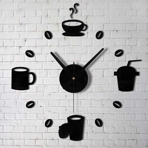 Foto Produk Jam Dinding Dekorasi DIY Giant Wall Clock Model Kopi Cafe Unik - Hitam dari conngallery