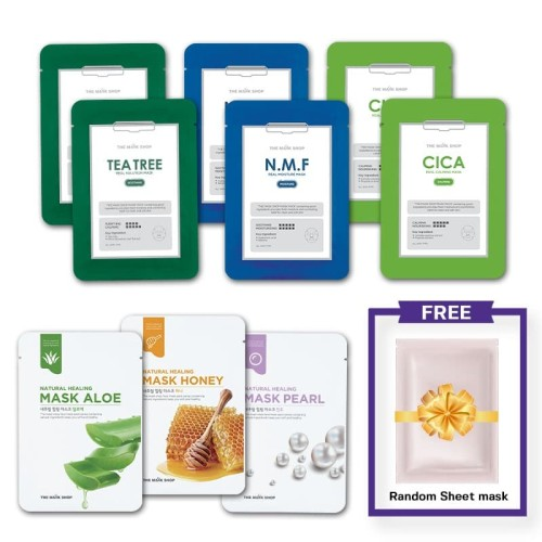 Foto Produk The Mask Shop - Bundle Pack 9 Mask Sheet Free 1 Random Mask Sheet dari Osho Korea Official