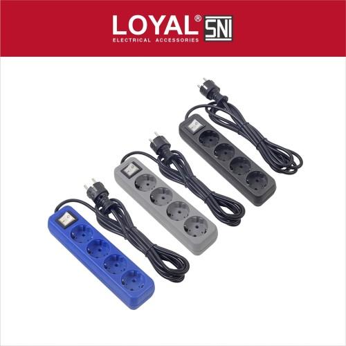 Foto Produk Stop Kontak + Kabel 3M OSAKA 4 Lubang (LY-208) SNI - Biru dari LOYAL Official Store
