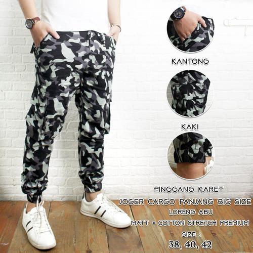 Foto Produk Celana Joger Kargo Panjang Motif Loreng Army Size 38 - 42 Premium - loreng abu, 38 dari fashioncollectionjkt