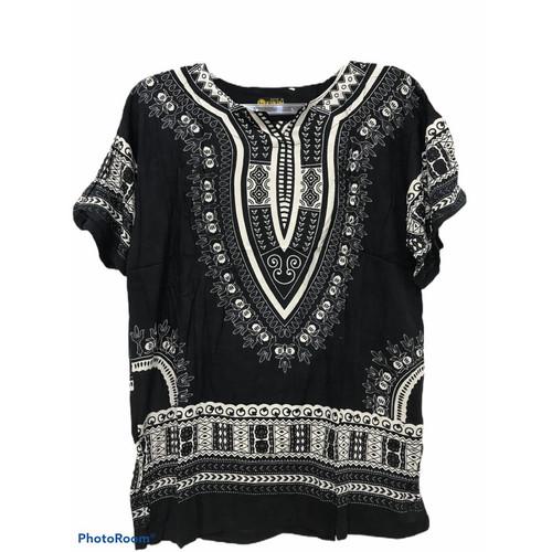 Foto Produk Atasan Unisex Baju Bali Motif Dashiki Hitam Putih - Hitam dari New Trendy 99