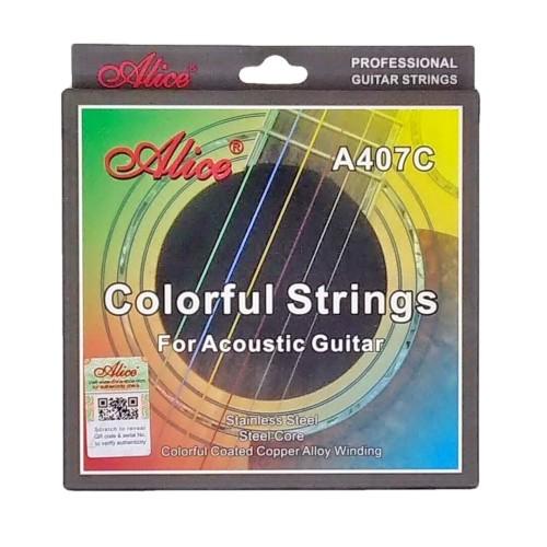 Foto Produk Alice senar warna pelangi untuk gitar akustik .011 A407C dari Grandia Shop