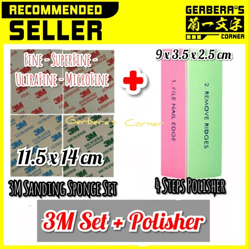 Foto Produk 3M Sanding Sponge Set 11.5 x 14 cm + 4 Grades Polisher dari Gerbera's Corner