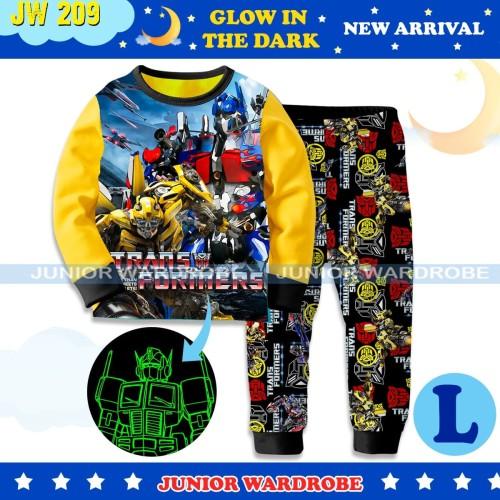 Foto Produk Piyama Baju Tidur Anak Karakter Glow In The Dark Transformers JW209-L - 2-3 tahun dari Cosmo Baby Shop