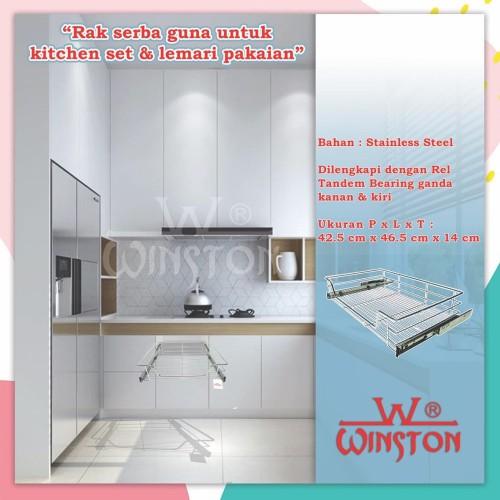 Foto Produk Rak Tarik Stainless Winston WW 007 D 50 cm for Kitchen Set Kabinet dari WINSTON SUKSES ABADI