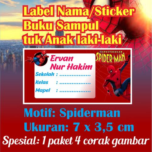 "Foto Produk Stiker nama label mata pelajaran ""Spiderman"" (Uk. 7 x 3,5 cm = 50 lbr) dari ZahraRabbani"