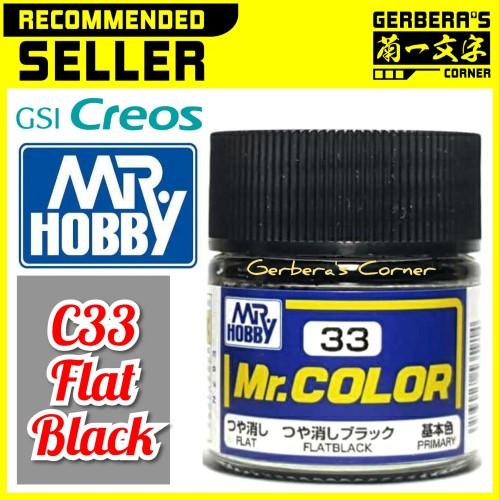 Foto Produk Mr Color C33 Flat Black - Mr. Hobby - Lacquer Paint dari Gerbera's Corner