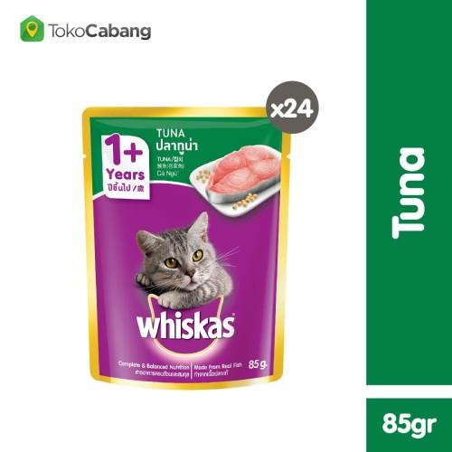 Foto Produk Whiskas Pouch 85gr Makanan Kucing Basah rasa Tuna (24pcs) dari Whiskas Official Store