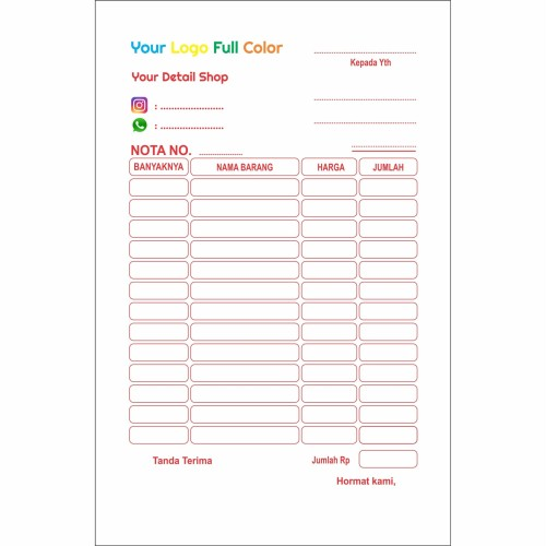 Foto Produk Cetak Nota Bon 2 Rangkap/Ply Warna Full Color - Standart dari Aneka Offset Printing
