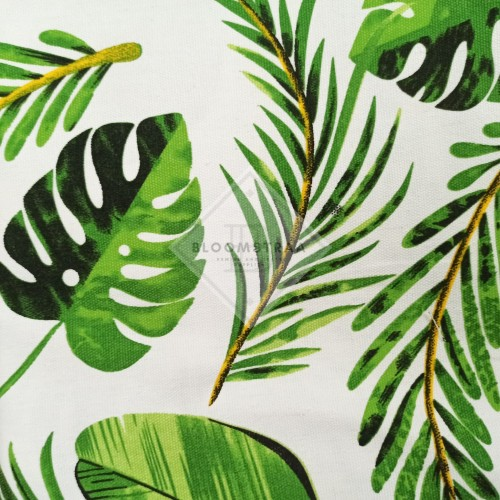 Foto Produk Kain Kanvas Tropical Green canvas bahan daun tropikal hijau palem dari Bloomstraa