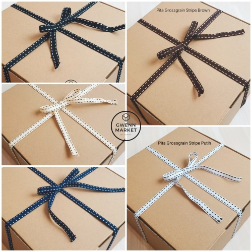 Foto Produk Tali pita Grossgrain stripe Pita garis strip list pita box pita kado - White dari gwennmarket