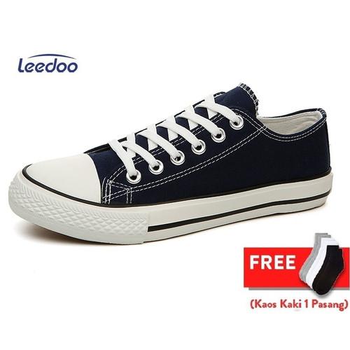 Foto Produk Leedoo Sepatu Sneakers Kasual Pria sepatu Sekolah Hitam Putih MC303 - Hitam, 43 dari Leedoo