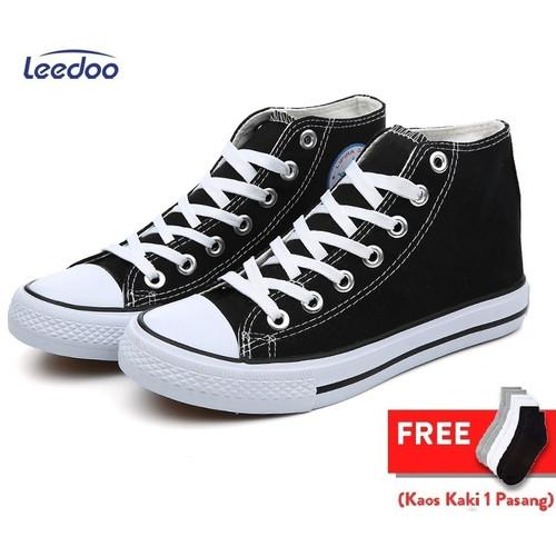 Foto Produk Leedoo Sepatu Pria Sneakers Casual Premium Sepatu Sekolah Hitam MC304 - Hitam, 43 dari Leedoo