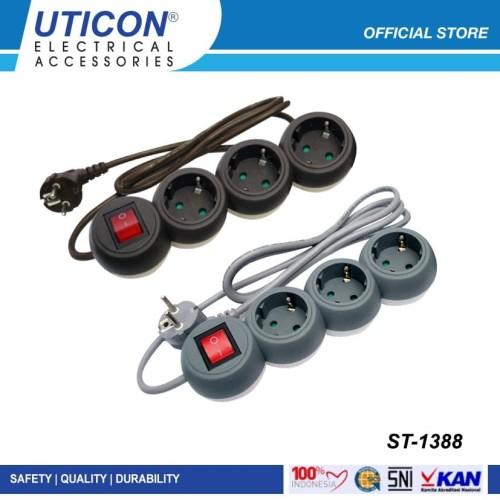 Foto Produk UTICON Stop Kontak Bola 3 Lubang 1.5 Meter Arde - Power Strip ST1388 - Abu-abu dari UTICON