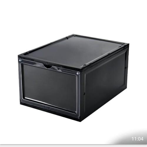 Foto Produk Kotak Sepatu Flip Buka Depan dengan Frame [TEBAL - LEBIH BESAR] - Hitam dari Miracle store