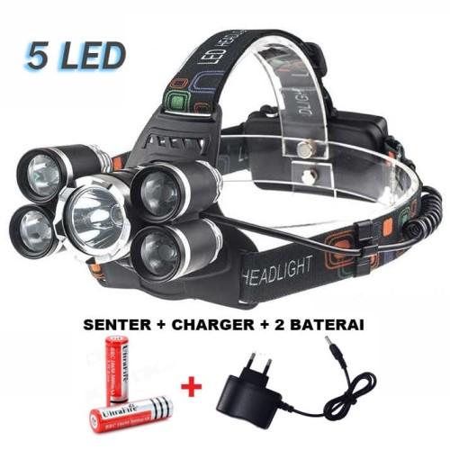 Foto Produk Paket Senter kepala 5 LED Headlamp Cree XM-L 1T6 16000 Lumens dari Rumah Susun