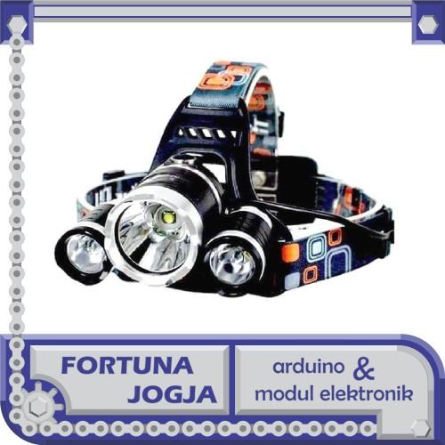Foto Produk Senter Kepala TaffLED 3 Lampu High Power Headlamp Cree XML-T6 dari Fortuna Jogja