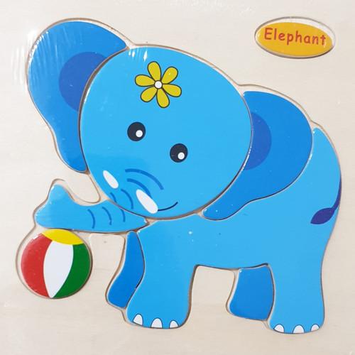 Foto Produk CMK018 Puzzle Petak Kayu 3D Animal Mainan Edukasi Anak - ELEPHANT dari Mmtoys Indonesia