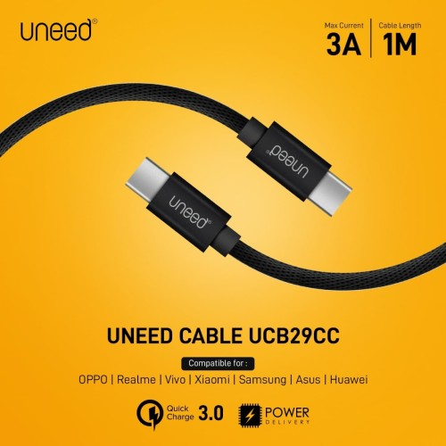 Foto Produk UNEED Kabel Type C to Type C Quick Charge 3.0 & PD Max 3A - UCB29CC dari Uneed Indonesia