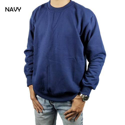 Foto Produk Sweater Basic Oblong Crewneck Polos Navy Blue Dongker - M dari Hoodie Center