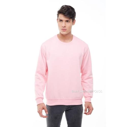 Foto Produk Sweater Basic Oblong Polos Pink Merah Muda - M dari Hoodie Center