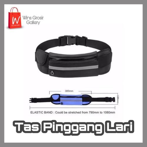 Foto Produk Tas Pinggang Jogging Belt Bag WATERPROOF Sport Lari Running Pouch - Hitam dari Wins Grosir Gallery