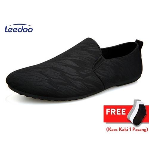 Foto Produk Leedoo Sepatu Pria Slip On Casual Import Sepatu Santai MR214 - Hitam, 43 dari Leedoo