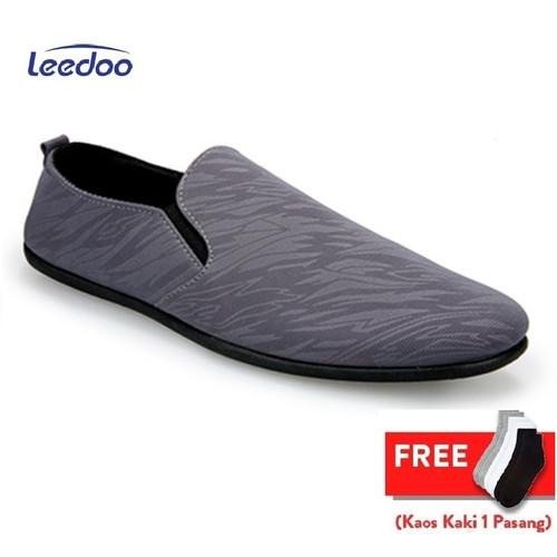 Foto Produk Leedoo Sepatu Pria Slip On Casual Import Sepatu Santai MR214 - Abu-abu, 39 dari Leedoo