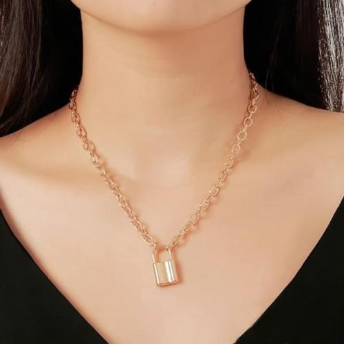 Foto Produk kalung gembok retro lock chain necklace jka185 - gold dari Oila