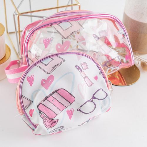 Foto Produk ARAMI 2 in 1 Wallet Pouch Set | Paket Dompet Koin Tas Makeup Serbaguna - PINK GLASS dari Arami Lifestyle