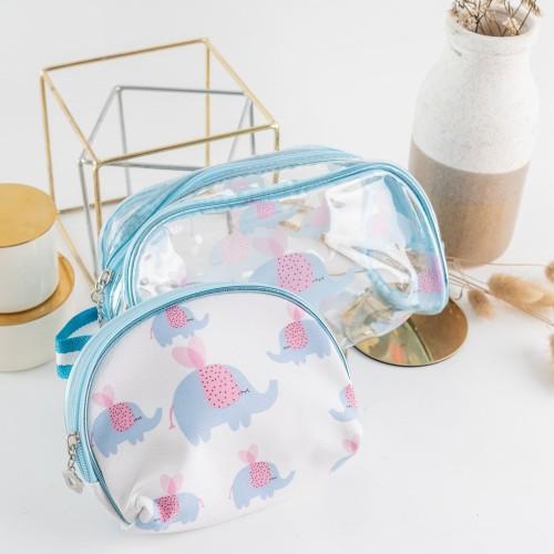 Foto Produk ARAMI Travel Make Up Pouch Organizer Tas Kosmetik Perlengkapan Mandi - BLUE ELEPHANT dari Arami Lifestyle