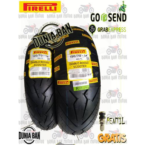 Foto Produk PAKET BAN AEROX PIRELLI DIABLO ROSSO SCOOTER 120/70-14 & 150/70-14 dari Dunia Ban Motor Depok