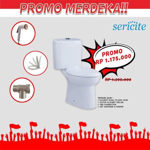 Foto Produk Komplit! Kloset SERICITE Tutup Pelan Jet Shower Chrome / Closet dari serisaito