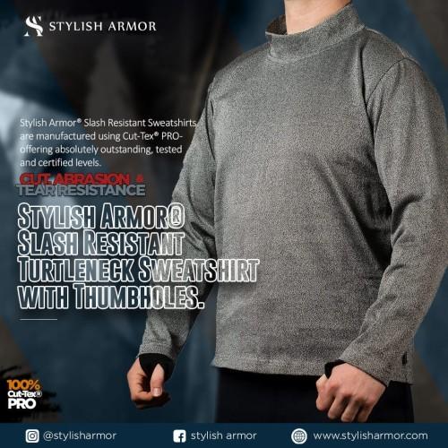 Foto Produk Stylish Armor Turtleneck Sweatshirt with Thumbholes , sweather - Abu-abu, S dari STYLISH ARMOR